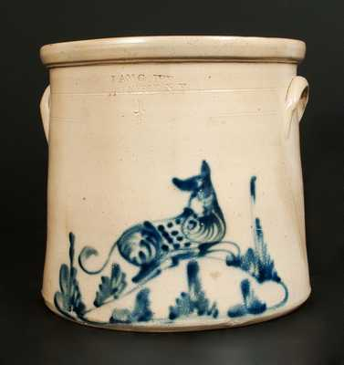 4 Gal. ADAM CAIRE / PO KEEPSIE, NY Stoneware Crock with Reclining Dog Decoration