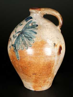 Extremely Rare and Important Ovoid Stoneware Jug with Elaborate Incised Decoration, Manhattan, early 19th century