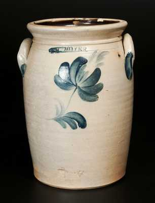 Rare 1 Gal. WM. MOYER (Harrisburg, PA) Stoneware Crock with Floral Decoration