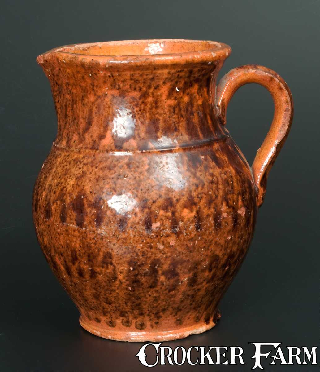 Redware Pitcher With Profuse Manganese Sponging Lot 173