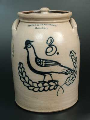 Rare T. HARRINGTON / LYONS Stoneware Crock w/ Ornate Bird-in-Wreath Decoration