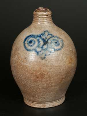Rare 1 Gal. Stoneware Jug with Watchspring Design, 18th century, Manhattan or Cheesequake, NJ