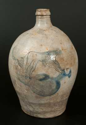 Extremely Rare Stoneware Jug w/ Incised Cat Decoration, late 18th or early 19th century