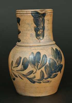 Rare J. SWANK & CO. / JOHNSTOWN, PA. Stoneware Pitcher w/ Elaborate Cobalt Floral Decoration