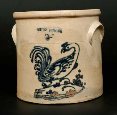 Rare WHITES UTICA Stoneware Crock with Slip-Trailed Rooster Decoration