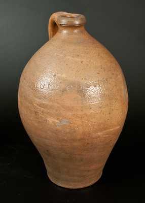 Rare PAUL:CUSHMAN 2 Gal. Ovoid Stoneware Jug, Albany, c1815