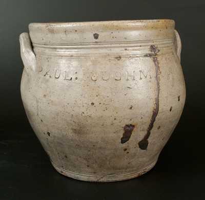 Rare Squat PAUL:CUSHMAN's Ovoid Stoneware Jar, Albany, c1815
