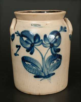1 Gal. LYONS, New York Stoneware Crock with Bright Floral Decoration