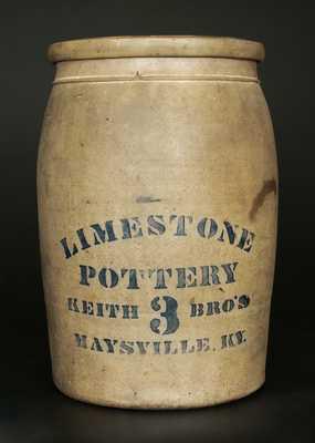 Very Rare LIMESTONE POTTERY / KEITH BROS / MAYSVILLE, KY 3 Gal. Stoneware Crock