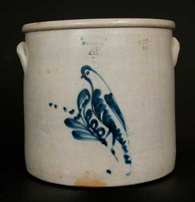 FORT EDWARD POTTERY CO. 4 Gal. Stoneware Crock w/ Bird Decoration