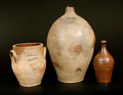 Lot of Three: GOODWIN & WEBSTER (Hartford, CT) Stoneware Vessels incl. Bottle, Jug and Jar