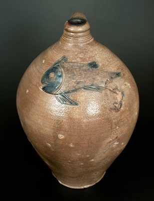 Exceptional Large Ovoid Stoneware Jug w/ Incised Fish Design, Manhattan, c1800