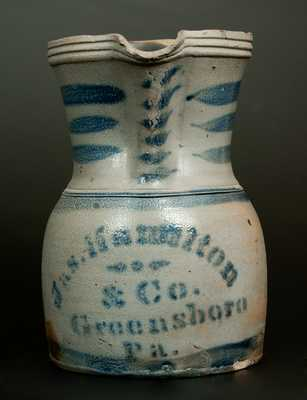 Unusual JAS. HAMILTON & CO. / GREENSBORO, PA Squat Stoneware Pitcher
