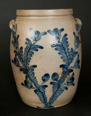 4 Gal. Stoneware Crock with Profuse Tulip Decoration, Baltimore, circa 1860