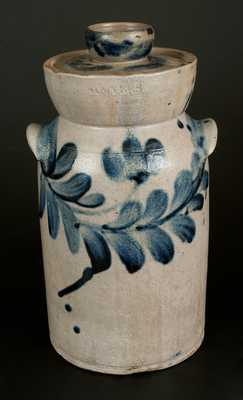 Extremely Rare H. MYERS Baltimore Stoneware Churn with Floral Decoration, c1825