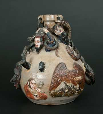 Anna Pottery Snake Jug / Temperance Jug w/ Civil War and Slavery Motifs