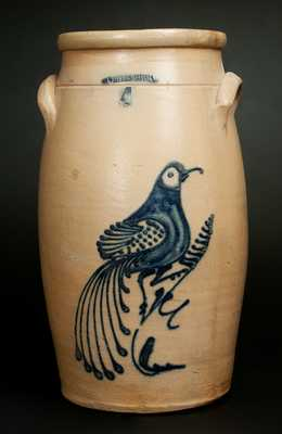 WHITES UTICA 6 Gal. Stoneware Churn with Large Bird on Branch Decoration