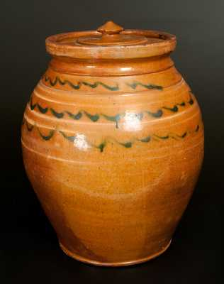 Shenandoah Valley Redware Jar w/ Green and Yellow Slip