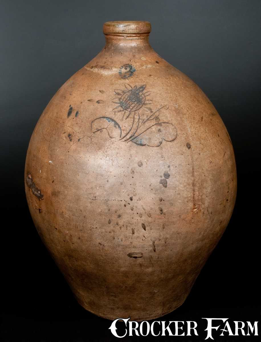 Unusual Three Gallon Ohio Stoneware Jug With Incised