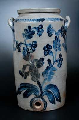 4 Gal. Henry Remmey, Philadelphia Stoneware Water Cooler w/ Profuse Cobalt Floral Decoration
