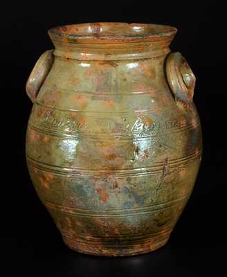 Extremely Rare Whately, MA Redware Presentation Crock Made by Potter Lemuel A. Wait for Future Wife Louisa Dickinson