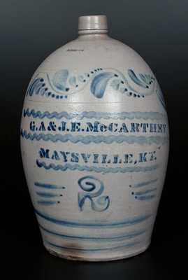 Rare Stoneware Jug Stenciled G.A. & J.E. McCARTHEY / MAYSVILLE, KY w/ Profuse Cobalt Decoration, Greensboro, PA, origin