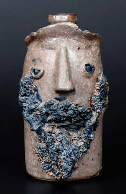 Exceedingly Rare Salt-Glazed Stoneware Face Vessel, Virginia origin
