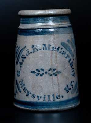 Scarce G.A. & J.E. McCARTHEY / Maysville, Ky Stoneware Canning Jar