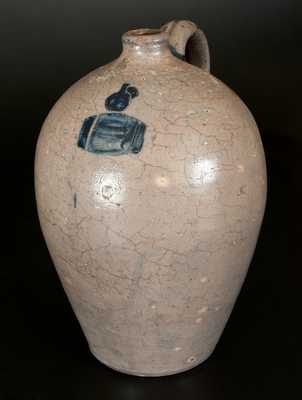 Unusual 2 Gal. Stoneware Jug with Incised Jug on Keg Decoration, probably Ohio River Valley