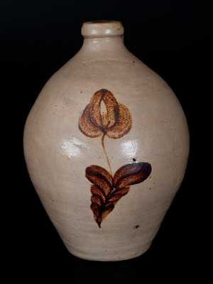 L. NORTON & SON, Bennington, VT Stoneware Jug w/ Ocher Tulip Decoration
