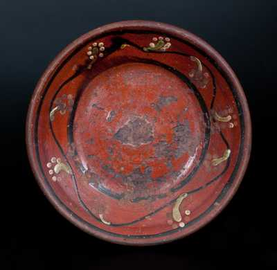 Redware Dish w. Three-Color Slip Decoration, American, possibly North Carolina, early 19th century