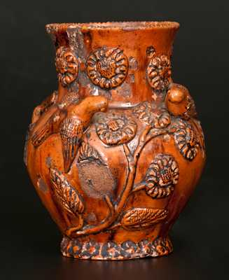 Rare Anthony W. Bacher / 1850 Redware Vase w/ Applied Birds and Flowers