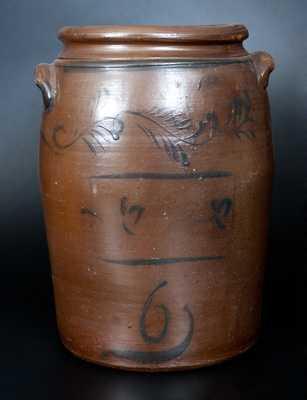 Six-Gallon Stoneware Jar w/ Freehand Cobalt Decoration, att. D.G. Thompson, Morgantown, WV