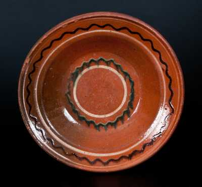 Fine Redware Dish with Three-Color Slip Decoration, American, possibly Hagerstown, MD or North Carolina