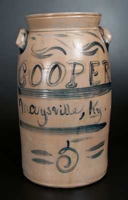 Extremely Rare COOPER / MAYSVILLE, KY Signed A. & W. BOUGHNER Stoneware Churn