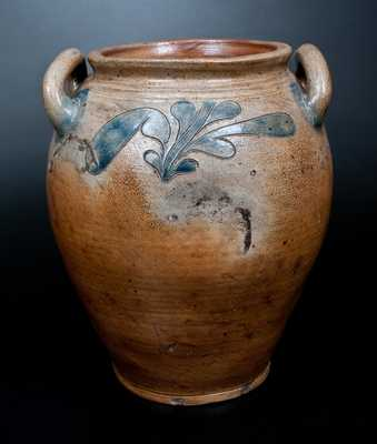 Attrib. John Remmey, III, Manhattan, NY Open-Handled Incised Stoneware Jar