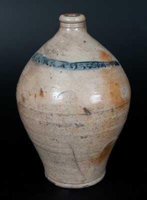 PAUL:CUSHMAN's 2 Gal. Ovoid Stoneware Jug, Albany, c1815