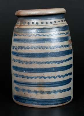 Exceptional 12-Stripe Western PA Stoneware Wax Sealer