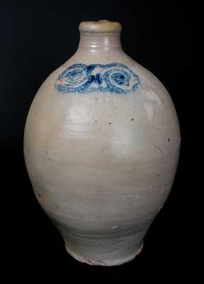 Eighteenth Century Stoneware Jug with Watchspring Decoration, Manhattan or Cheesequake, NJ