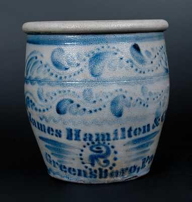 Fine Two-Gallon Jas Hamilton & Co / Greensboro, Pa. Stoneware Jar
