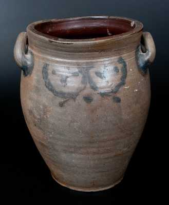 Two-Gallon Loop-Handled Stoneware Jar with Cobalt Decoration