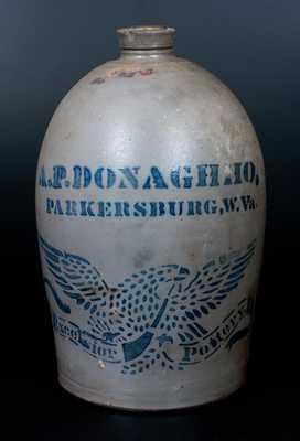 2 Gal. A. P. DONAGHHO / PARKERSBURG, WV Stoneware Jug w/ Large Stenciled Eagle Decoration