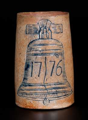 Very Rare Stoneware Mug w/ Liberty Bell Decoration, Aaron Radley, Philadelphia, circa 1876