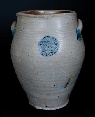 Rare Ovoid Stoneware Jar w/ Impressed Floral Medallion, Old Bridge, NJ, early 19th century