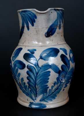 Very Fine Stoneware Pitcher with Cobalt Floral Decoration att. Richard Remmey, Philadelphia, PA