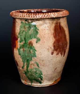 Outstanding S. BELL & SON / STRASBURG, VA Multi-Glazed Redware Cream Jar