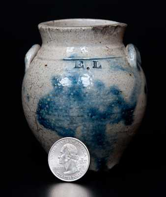Rare Miniature Ovoid Stoneware Jar Impressed E. L., New York State or Ohio origin
