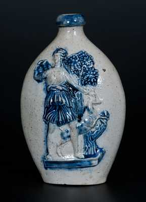 Extremely Rare and Important Stoneware Presentation Flask w/ Diana the Huntress and Deer, Delos Rogers, Sherburne, NY, 1853