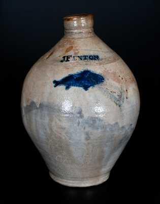 Extremely Rare J FENTON (Dorset, VT c1805) Stoneware Jug w/ Impressed Fish Decoration