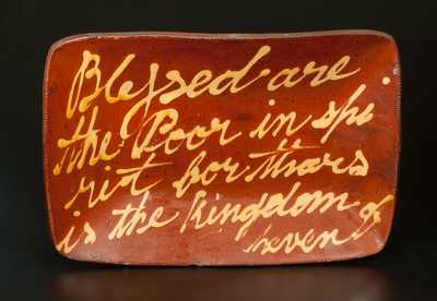 Norwalk, CT Redware Loaf Dish Inscribed